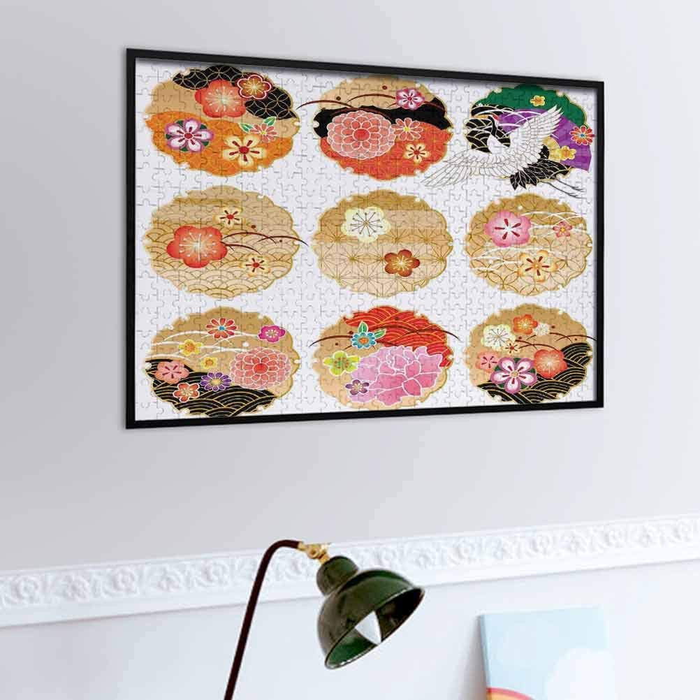 prunushome Japanese Wooden Puzzle Jigsaw Floral Round Golden Frame Patterns Antique Nature Figures Organic Nature Game Toys Gift Multicolor   500 Piece