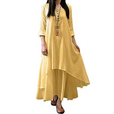 MissQee Women Linen Double Layer Plus Size Maxi Dress at Amazon ...