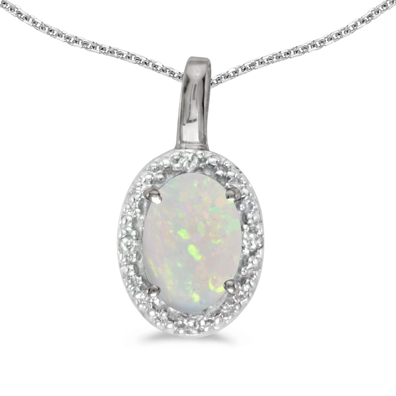 Jewels By Lux 10k White Gold Genuine Birthstone Oval Opal And Diamond Pendant (1/5 Cttw.)