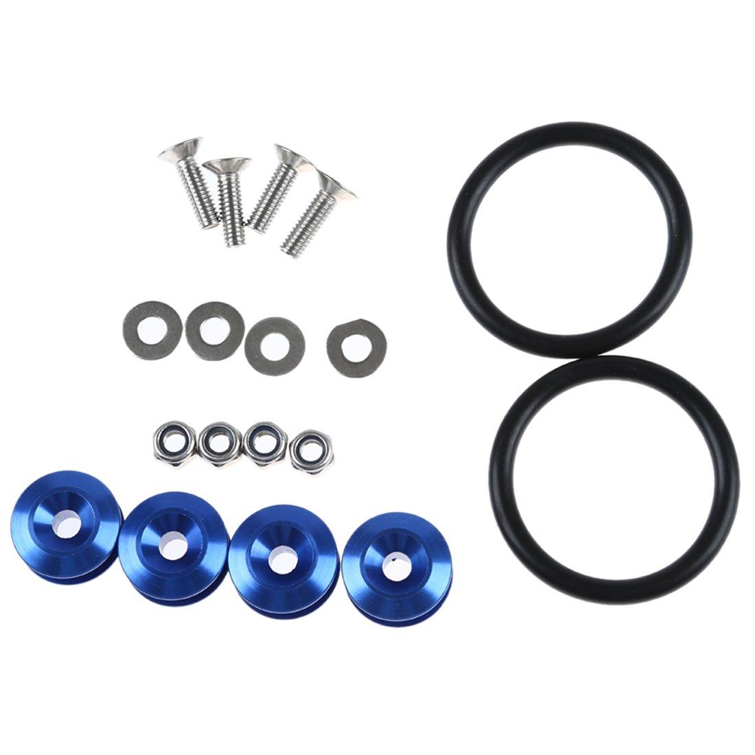 Herraminta - SODIAL(R)Conjunto de anillo de lazo de perno de liberacion rapida de JDM Pegatina Fender Tronco de fijacion de tornillos azul 59208A1
