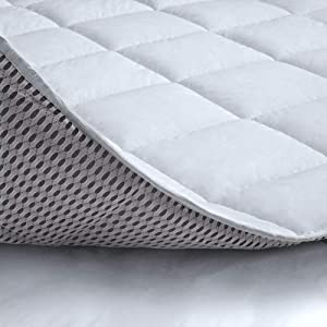 Cotton Mattress Pad Cover Cal King for Cooling Sleep, Topped with 100% Cotton Cover and Mesh Shell Underlay for Heat Regulating, Premium Soft Mattress Protector with Snow Fiber Filled, White