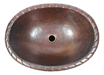 19 Oval Drop In Copper Bathroom Sink With Decorative Rope Rim