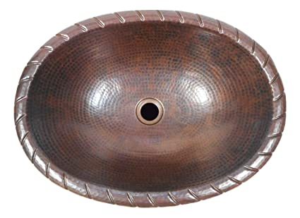 Groovy 19 Oval Drop In Copper Bathroom Sink With Decorative Rope Rim Home Interior And Landscaping Palasignezvosmurscom