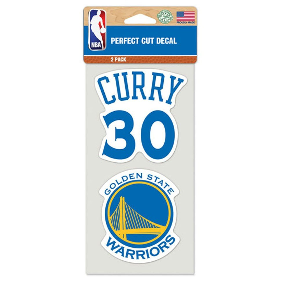 Golden State Warriors Perfect Cut Decal Set Of Two 4'' x 4'' Stephen Curry