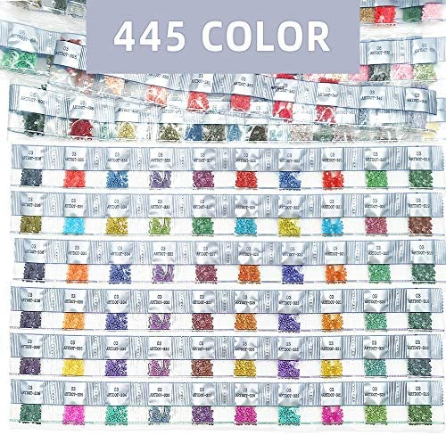 ARTDOT 445 Diamond Painting Round Drills Beads for Replacement Missing Diamonds, Freestyle Custom 5D Diamond Art Color Kits DIY Crafts Total 89,000 Pieces