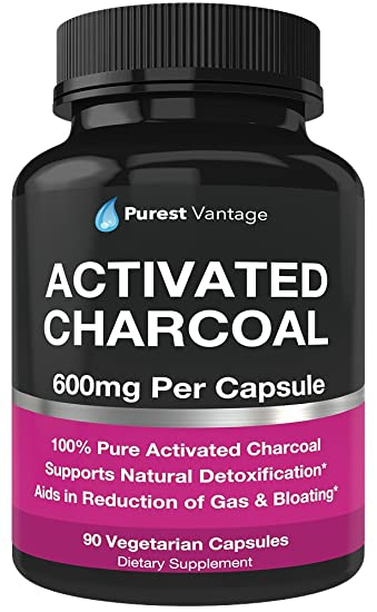 amazon com pure organic activated charcoal capsules 600mg per