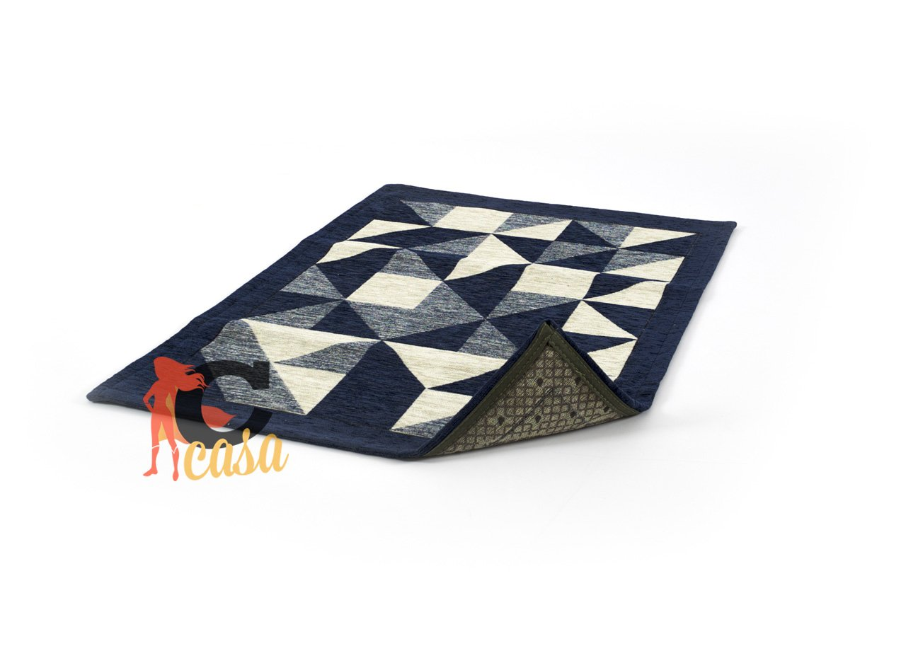 Tappeto con Retro Antiscivolo da Cucina Fantasia Origami By Suardi 55x80 Blu Capitan Casa