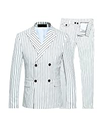 Mens 3 Piece Suits Slim Fit Formal Wedding Pinstripe Double Breasted Suits