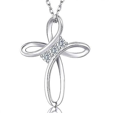 44ea60792cc2 Billie Bijoux plata de ley 925 Amor infinito Dios Cruz CZ Diamante blanco  Oro plateado Collar