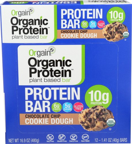 Large Product Image of Orgain Organic Protein Bar, Chocolate Chip Cookie Dough, 12 Count