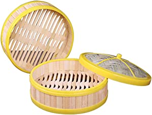 AnEssOil 2 Tier Bamboo Steamer Perfect For Steaming Dim Sum Dumplings Buns Vegetables Fish Rice, Non-stick Pad (7 INCH)