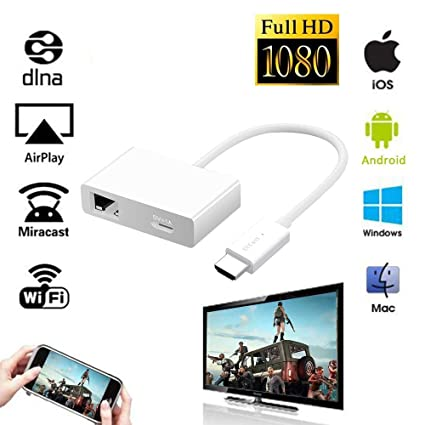 Mac OS /& Windows Laptops iBosi Cheng Wireless Display Receiver Wireless Audio Receivers Support Full HD 1080P for iOS /& Android Smartphone WiFi Display Dongle Works with Google Assistant
