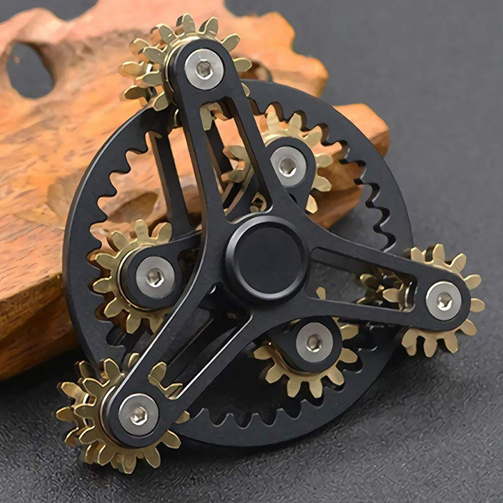 FREELOVE 9 Series Gear Pure Copper Brass Fidget Spinner Toy EDC Industrial Mechinery Disassemble R188 Silent Stainless Steel Bearing,3~5 minutes (7 Gear Wind Fire Wheel Black, 7 Gear Wind Fire Wheel) by FREELOVE (Image #3)