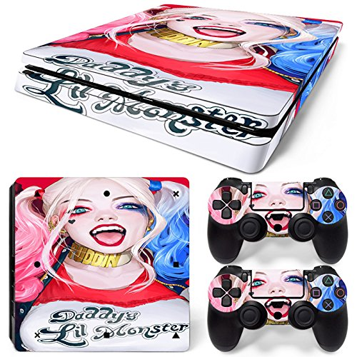 GoldenDeal PS4 Slim Skin and DualShock 4 Skin - Super Hero Quinn- PlayStation 4 Slim Vinyl Sticker for Console and Controller Skin