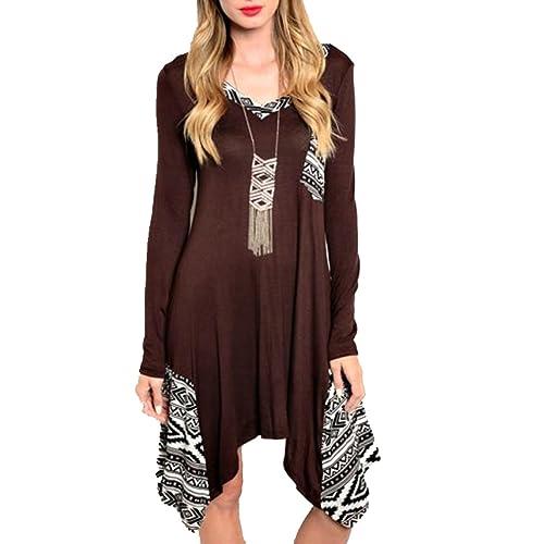 Leezeshaw Womens Long Sleeve Loose Irregular Hem Autumn Dress
