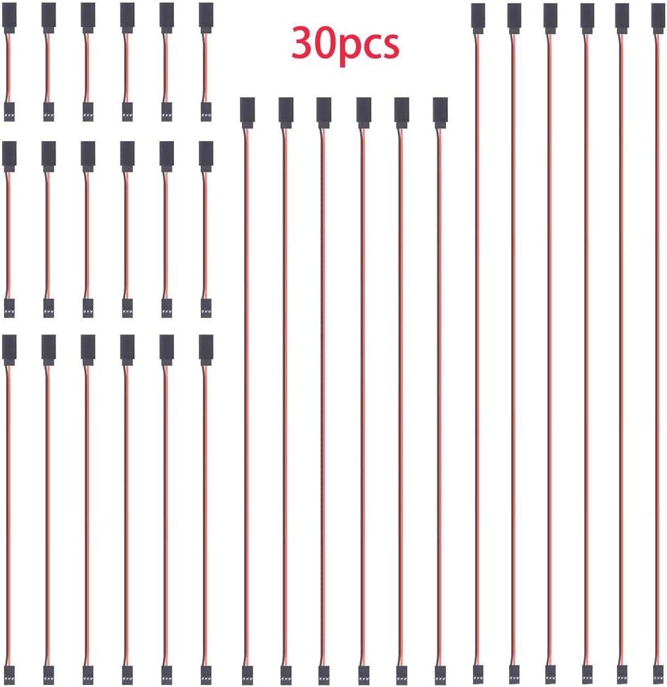GTIWUNG 30Pcs Cable de Extension Servo, 100mm/150mm/300mm/500mm/600mm Jr Servo Extensión, Servo Cable de Extensión, JR Receptor Enchufes Conectores Mujer a Hombre RC Servo Avión Cable de Extensión