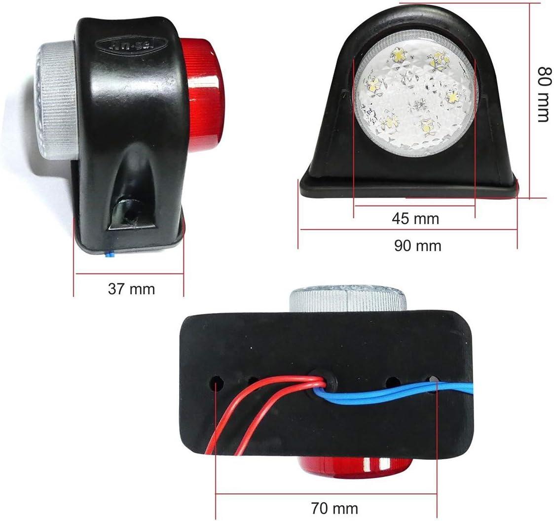 Dibiao 2 Pcs 12 V Voiture C/ôt/é Marqueur Lampes Contour Led Lumi/ère pour V/éhicule Remorque Camion Camion