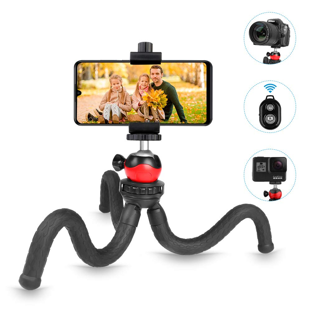 TOAZOE Flexible Phone Tripod, 12 Inch Mini Tabletop Tripod, Support Bluetooth Remote Control , Suit for iPhone Xs Max, Samsung, Huawei, Waterproof Tripod for Camera. by TOAZOE
