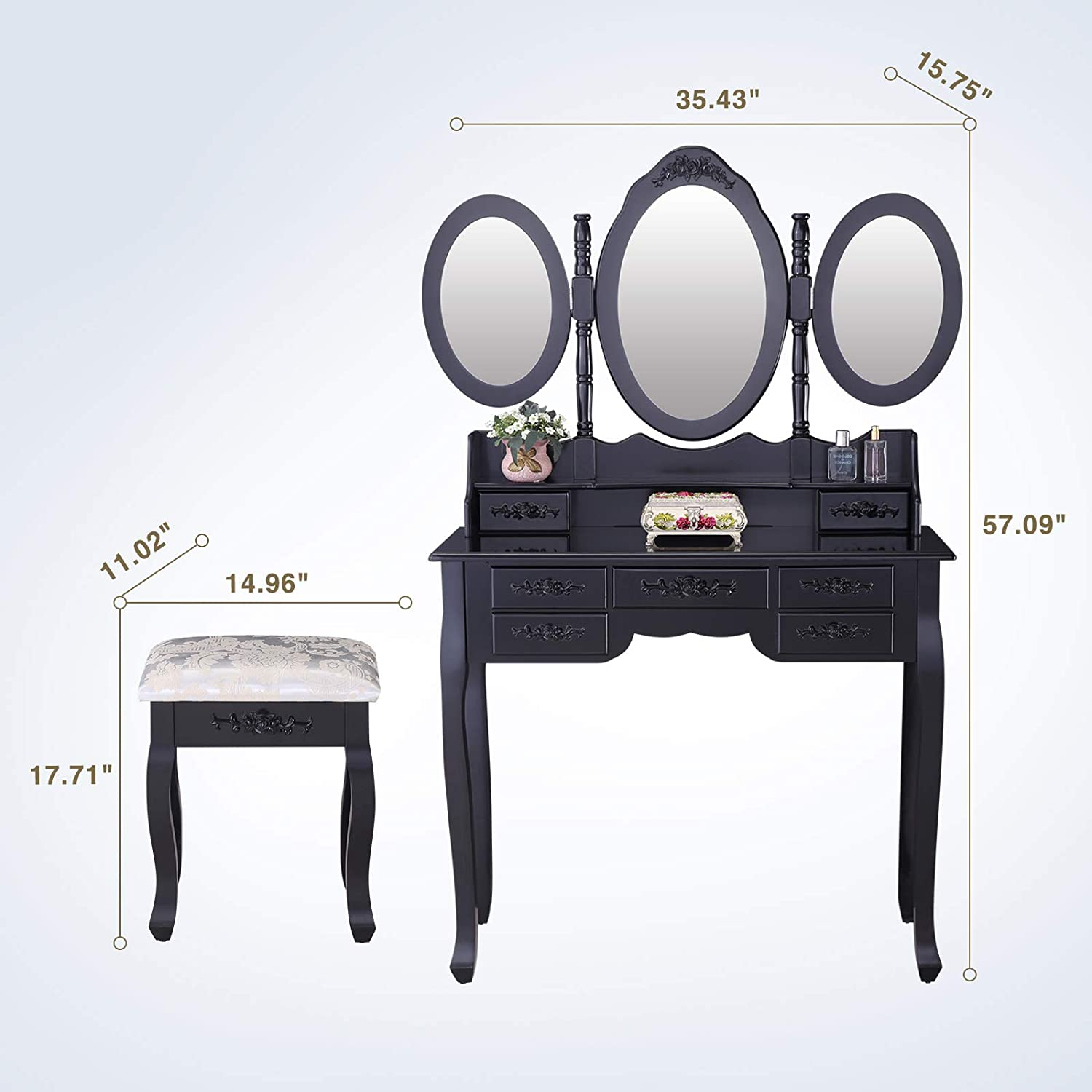 Mecor Vanity Table Set with Oval Mirror Makeup Dressing Table 7 Drawers and Cushioned Stool,Black 1030303500#DFMN-N