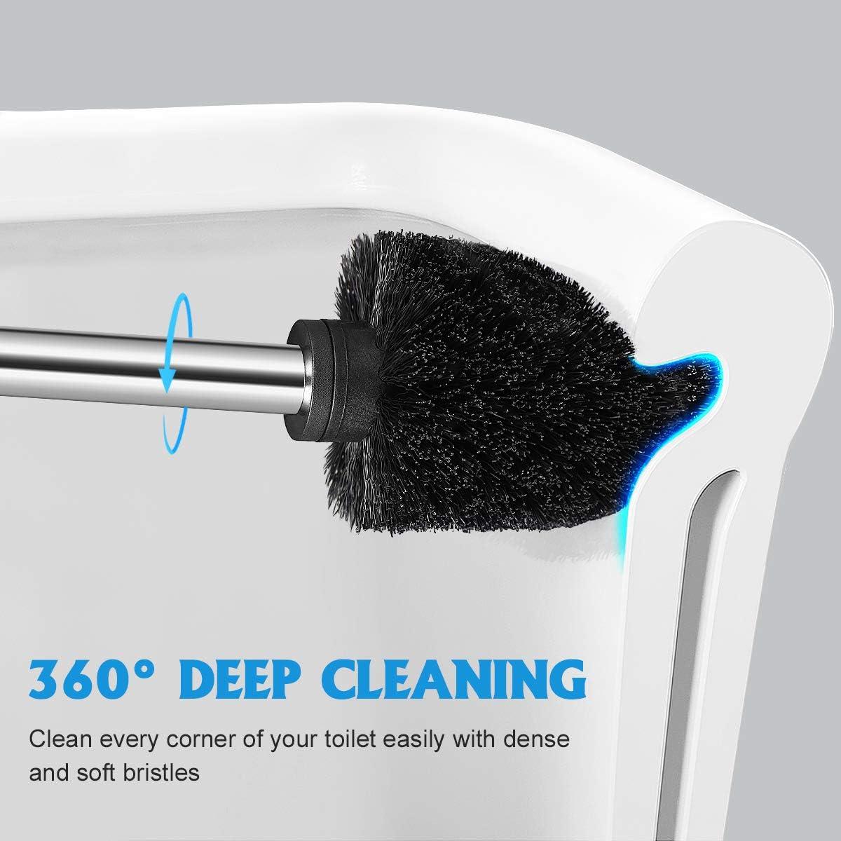 Toilet Brush and Holder 2 Pack, Heavy Duty Stainless Steel Length Handle Toilet Bowl Brush Set