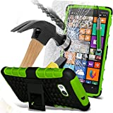 ( Green ) Nokia Lumia 930 Case Case Tough Survivor Hard Rugged Shock Proof Heavy Duty Case W/ Back Stand, Tempered Glass Crystal Clear LCD Screen Protectors & Mini Retractable Stylus Pen by ONX3®