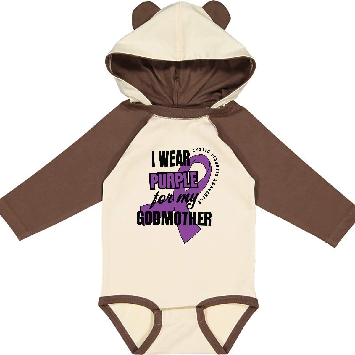 inktastic I Wear Purple for My Godmother Cystic Fibrosis Long Sleeve Creeper