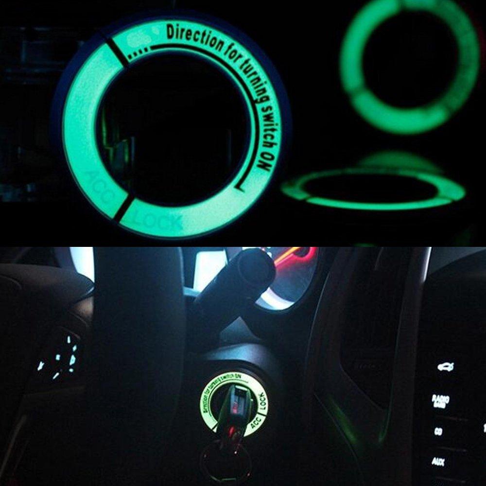 Azul VIGORFLYRUN PARTS LTD Coche Luminoso Interruptor de Encendido Cubierta Llave de Encendido Anillo de Decoraci/ón Llavero Agujero de la Cubierta para N-ISSAN K-AI Chen D50 Sunny T70
