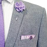 White & Multi Stripe w/Gingham Button Men's Pocket Square by The Detailed Male