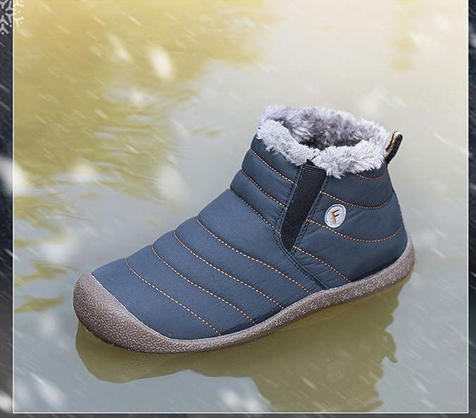Gomnear Stivali da neve uomini Stivali Impermeabili Scarpe da Trekking Leggero Inverno Antiscivolo Warm Sneaker,Blu scuro-36