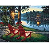 DIY 5D Diamond Painting by Number Kits Full Drill Rhinestone Embroidery Cross Stitch Pictures Arts Craft for Home Wall Decor,River Lounge Chair-12x16In