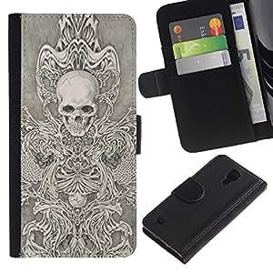 A-type (Cráneo Trono ira abstracto del metal) Colorida Impresión Funda Cuero Monedero Caja Bolsa Cubierta Caja Piel Card Slots Para Samsung Galaxy S4 IV I9500