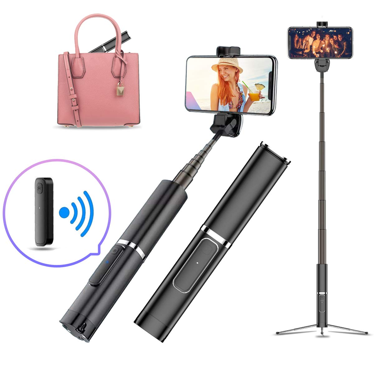 INNOLI Selfie Stick Tripod,Mini Pocket Retractable Bluetooth Wireless Remote Control Zinc Alloy Cell Phone Tripods for iPhone 11 11 Pro Xs Max Xr X 8Plus 7,Samsung Galaxy S10 S9 and More