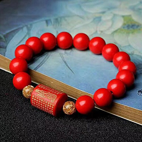 - Taiwan natural cinnabar red heart jewelry bracelet evil men women handled opening string prayer beads natal