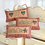Group of 3 Classic Red and White Checked Americana Themed Hanging Pillows for Home Decor and Accenting