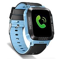 Tounique - Reloj inteligente para niños con 2 vías de llamada, rastreador GPS, control de cámara, juegos, flash de luz nocturna, antipérdida, SOS, pulsera para iPhone, Android, Smartphone