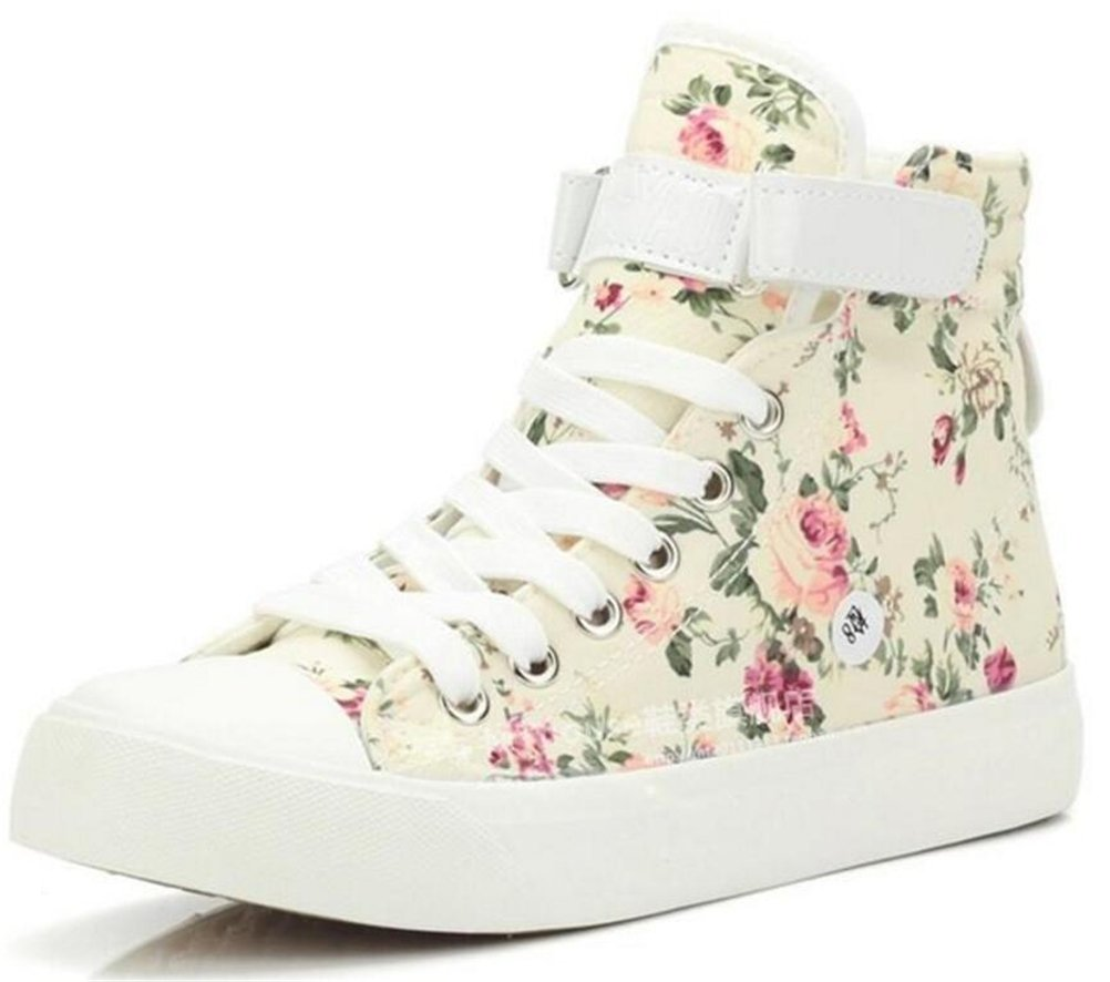 SATUKI Adult Women's Flat Floral High Top Lace up Casual Canvas Shoes Fashion Sneakers B01MXKGQDC 5.5 B(M) US|Biege