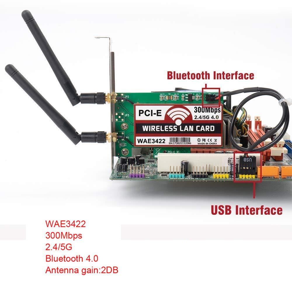 Velidy Network Internal Card,Bluetooth 4.0 300Mbps Wireless Dual Band 2.4G//5G PCI Express Adapter Wireless Network Card with 64//128-bit WEP,WPA,and WPA2 for Desktop Computers