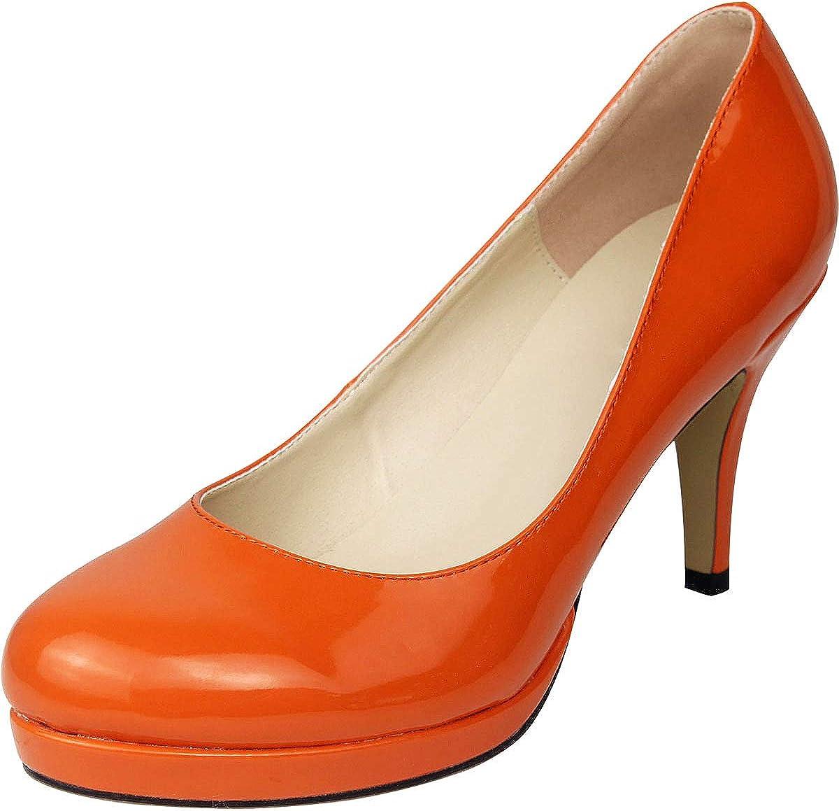 Wealsex Zapatos de Vestir para Mujer Charol Zapatos con Tacon Alto para Mujer Plataforma