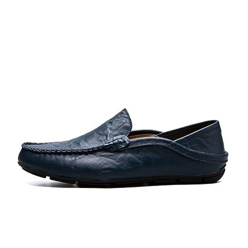 Hombres Zapatos de Cuero Genuino mocasín Mocasines diseñador Deslizante en Zapatos de Barco Plano Zapatos clásicos Masculinos: Amazon.es: Zapatos y ...
