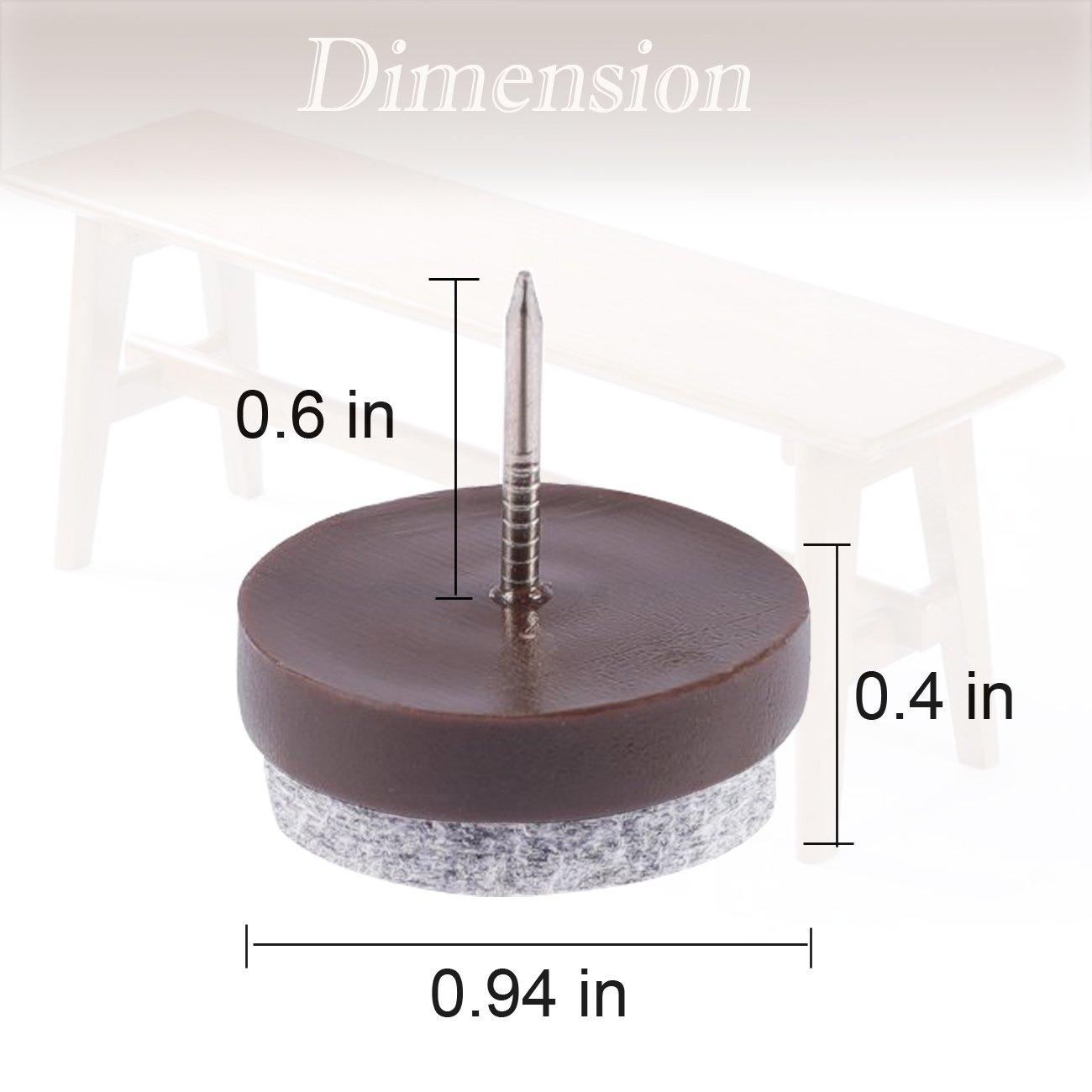 Uñas de fieltro para muebles, 32 unidades, 24 mm, antideslizante, protector de suelo, para muebles de madera, mesas de silla, patas, con caja de ...