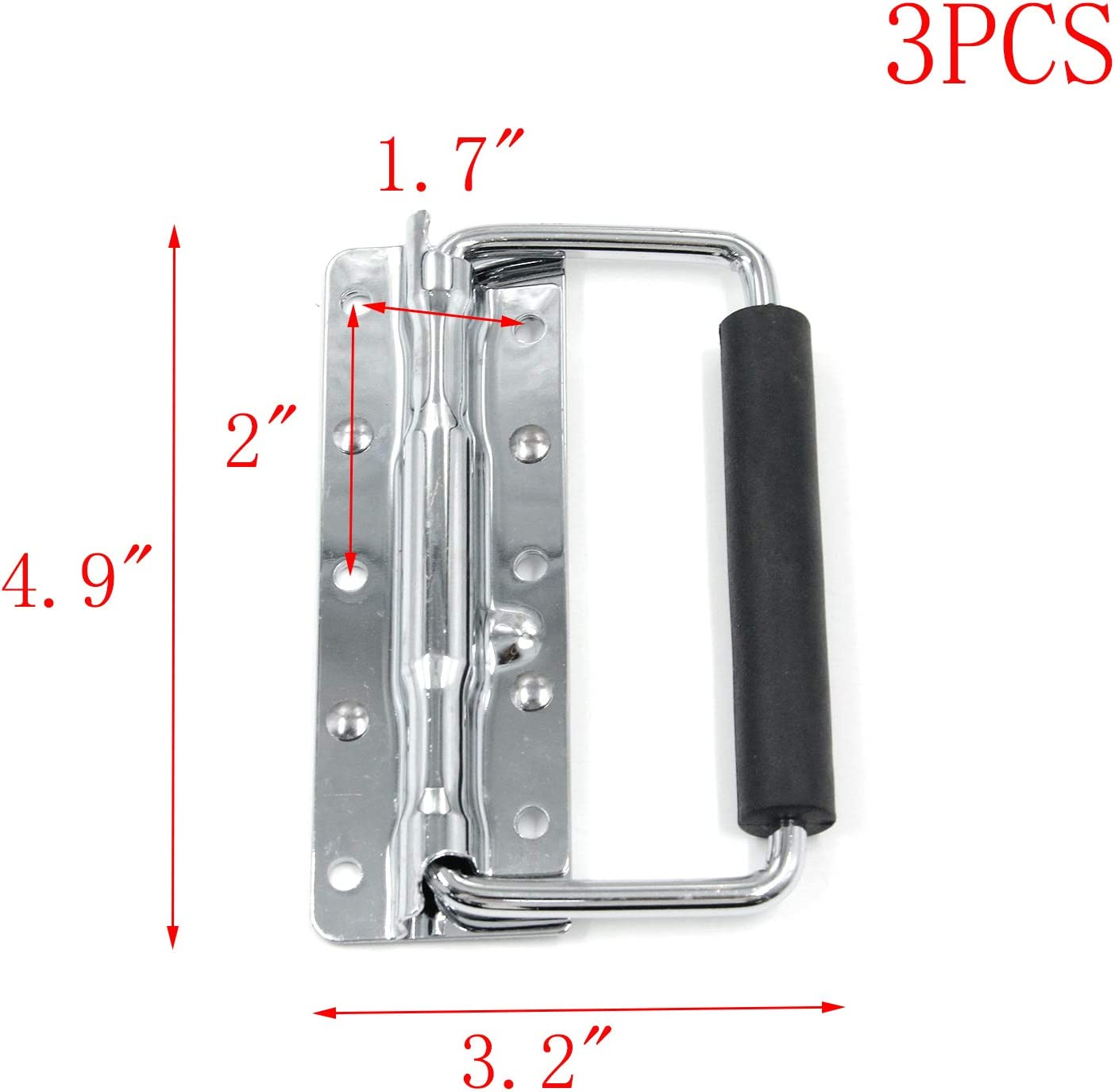 MTMTOOL 4.9 x 3.2 Iron Spring Loaded Surface Mount Case Handle with Rubber Grip Pack of 3