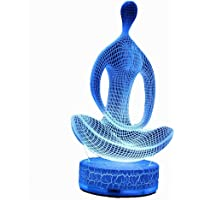 3D Illusion LED Night Lamp Yoga with build-in battery By AZALCO