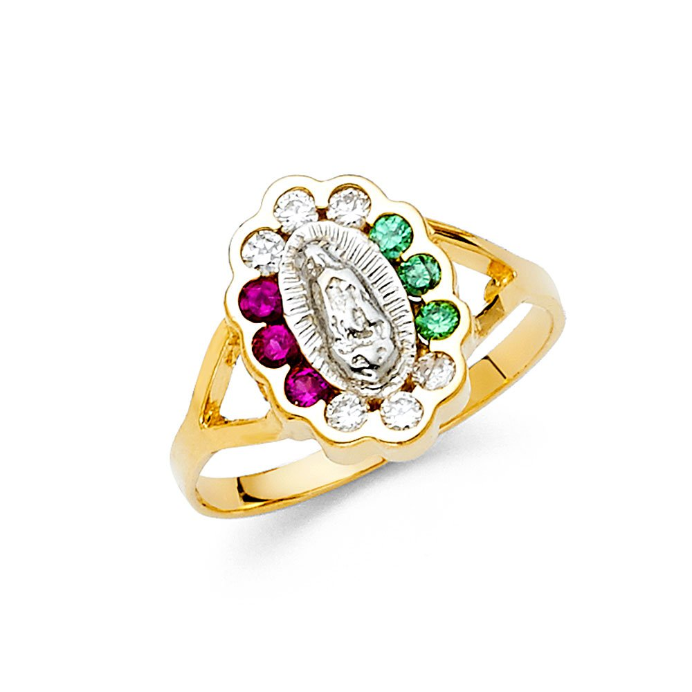 Ioka Jewelry - 14K Two Tone Solid Gold Multicolored Cubic Zirconia CZ Our Lady of Guadalupe Ring - size 7