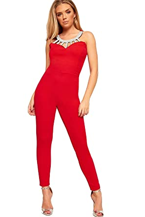 649a4f7acbd5 WearAll Women s Diamante Strappy Sleeveless Caged Skinny Leg Trousers New  Ladies Jumpsuit - Red - 6  Amazon.co.uk  Clothing