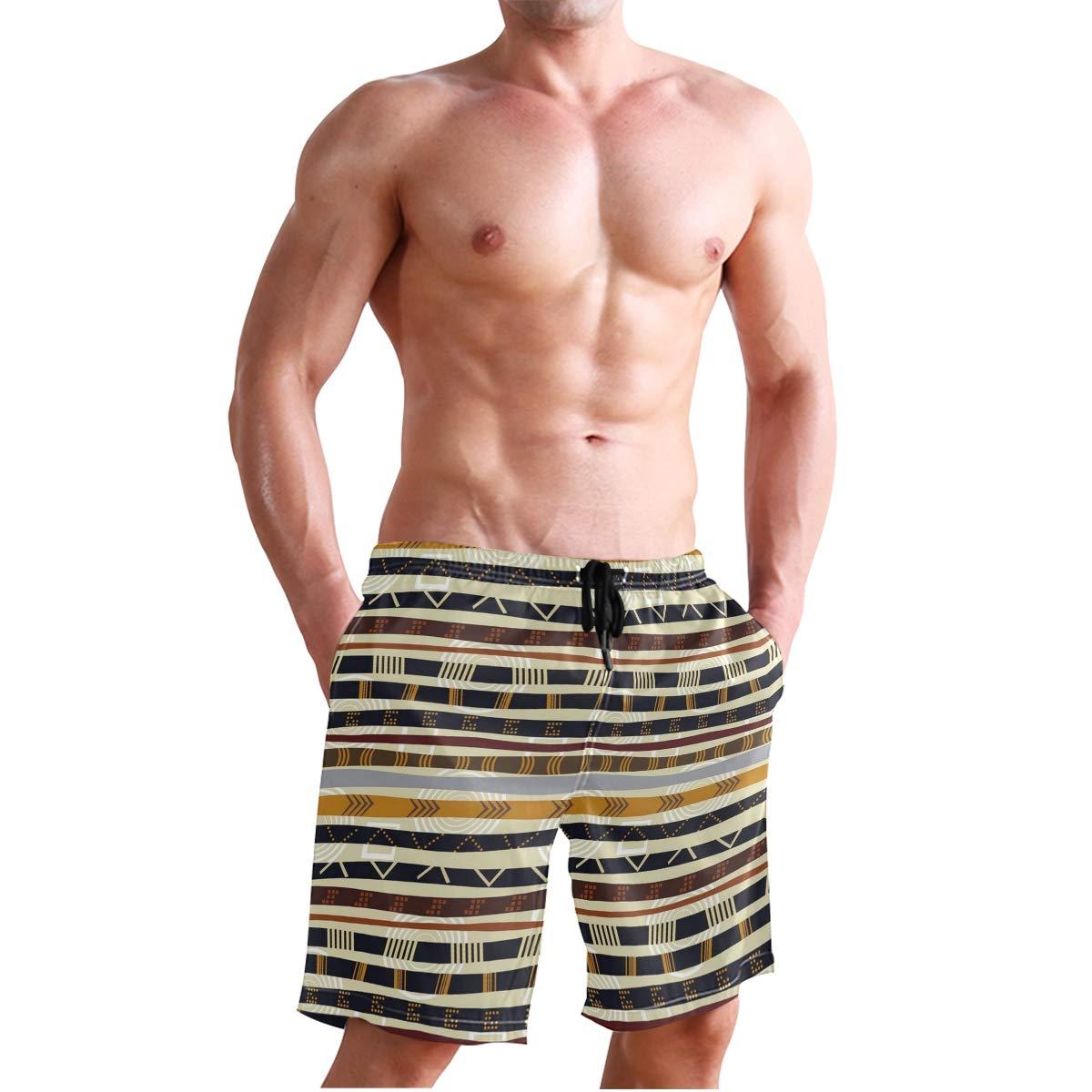 KVMV Ethnic African Trippy Geometric Forms Primitive Heritage Wild Ear 5size Beach Shorts