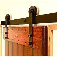 WINSOON 1.5/2/3/4/4.88M Black Straight Design Sliding Roller Barn Single Wood Door Hardware Closet Track Kit Set (3.66M Track Kit for 1 Door)