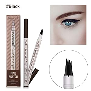 Vominice Eyebrow Tattoo Pen, Microblading Eyebrow Pencil with Four Tips,Waterproof Brow Gel, Fork Tip Applicator Creates Natural Looking Brows Effortlessly and Stays All Day (#04 - Black)