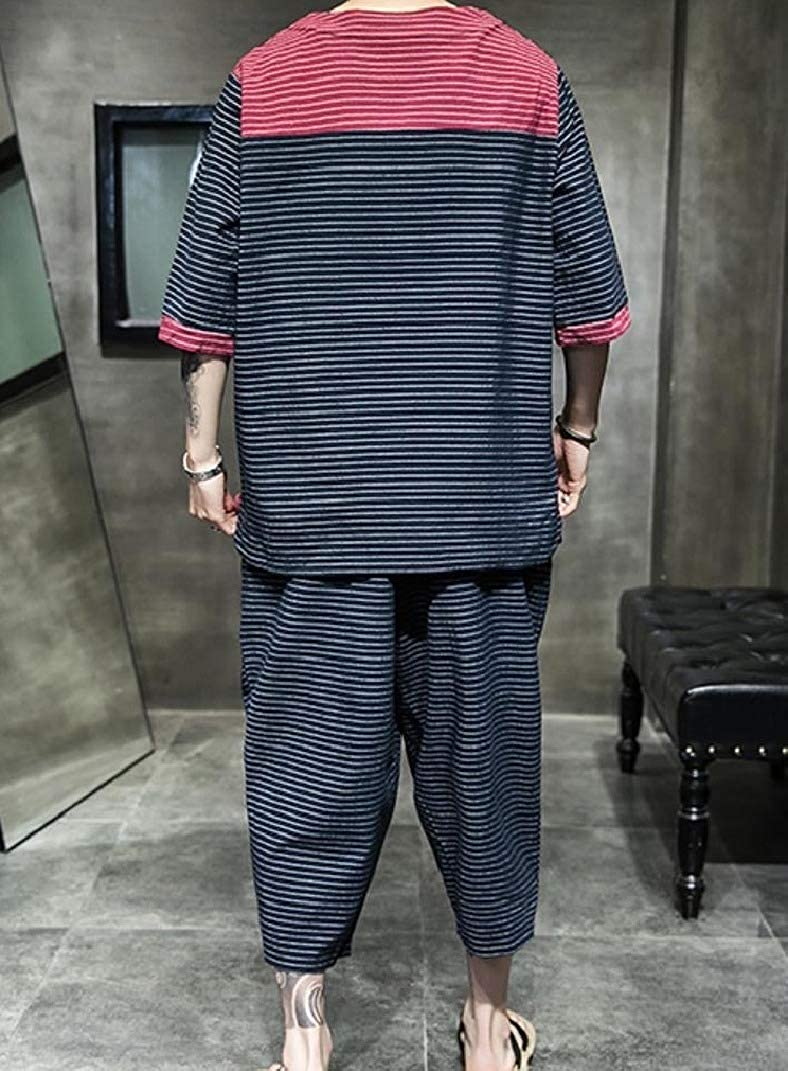 Abetteric Men Oversized Stripe Assorted Colors Chinese Style T-Shirts Capri Set