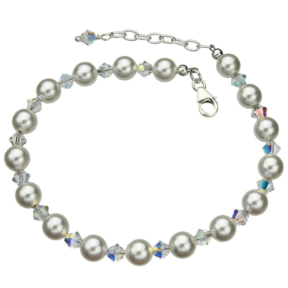 Joyful Creations Sterling Silver Bracelet, Simulated Pearls Made with Swarovski Crystals 7''+1'' Extender