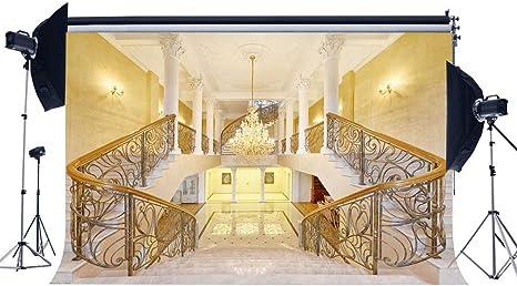 GzHQ Palacio 9X6FT Telón Fondo Vinilo Araña Real Castillo Interior Fondo Elegante Escalera Fotografía Fondo para Ceremonia Boda Decoración Papel Tapiz Foto Accesorios Estudio YX823: Amazon.es: Electrónica